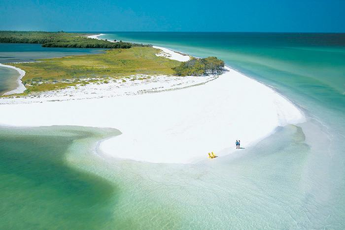 I Clearwater ligger Caladesi Island State Park där sanden är bländande vit.