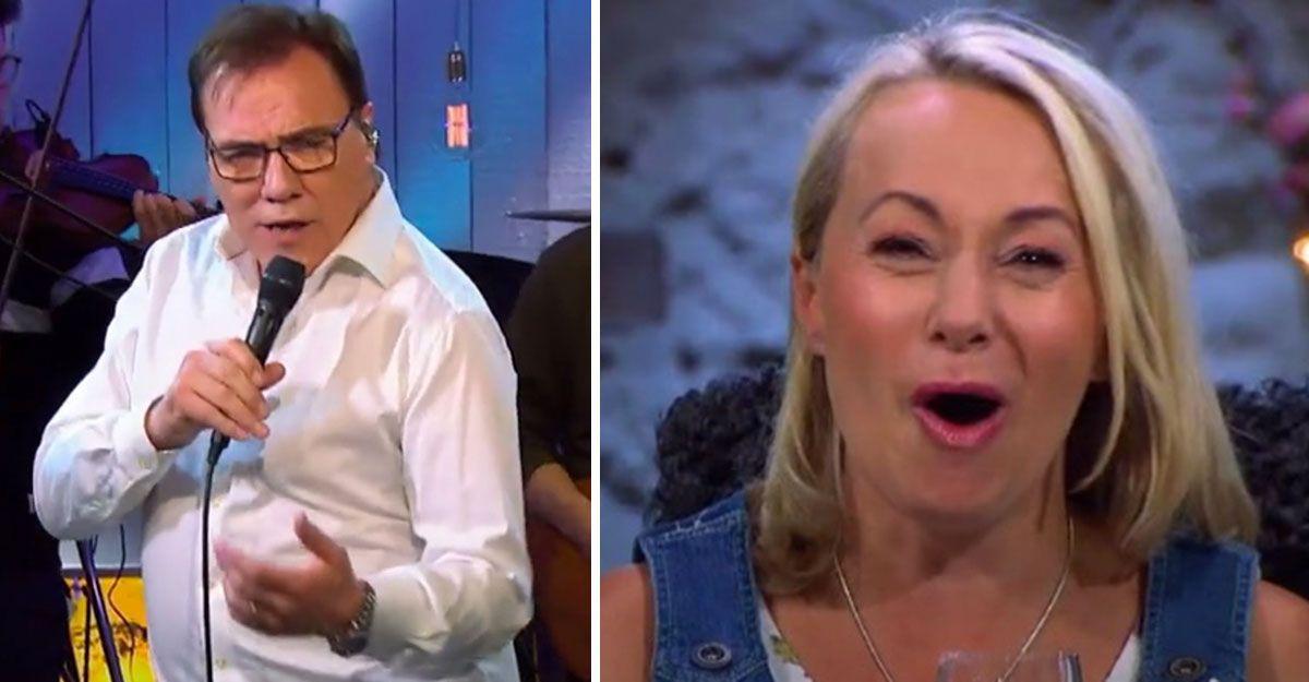Christer Sjögren får Louise Hoffsten att jubla.