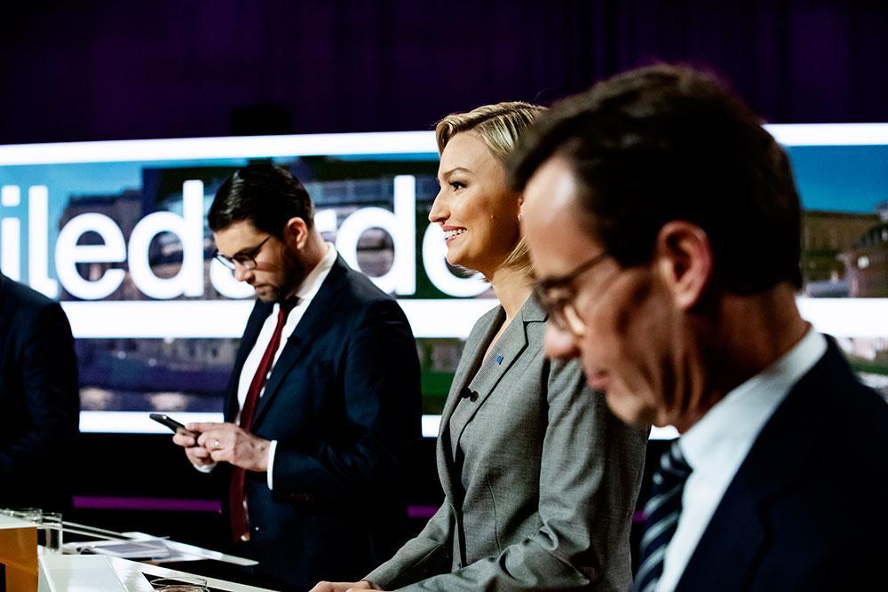 Jimmie Åkesson (SD), Ebba Busch Thor (KD), Ulf Kristersson (M) vid tidigare partiledardebatt.