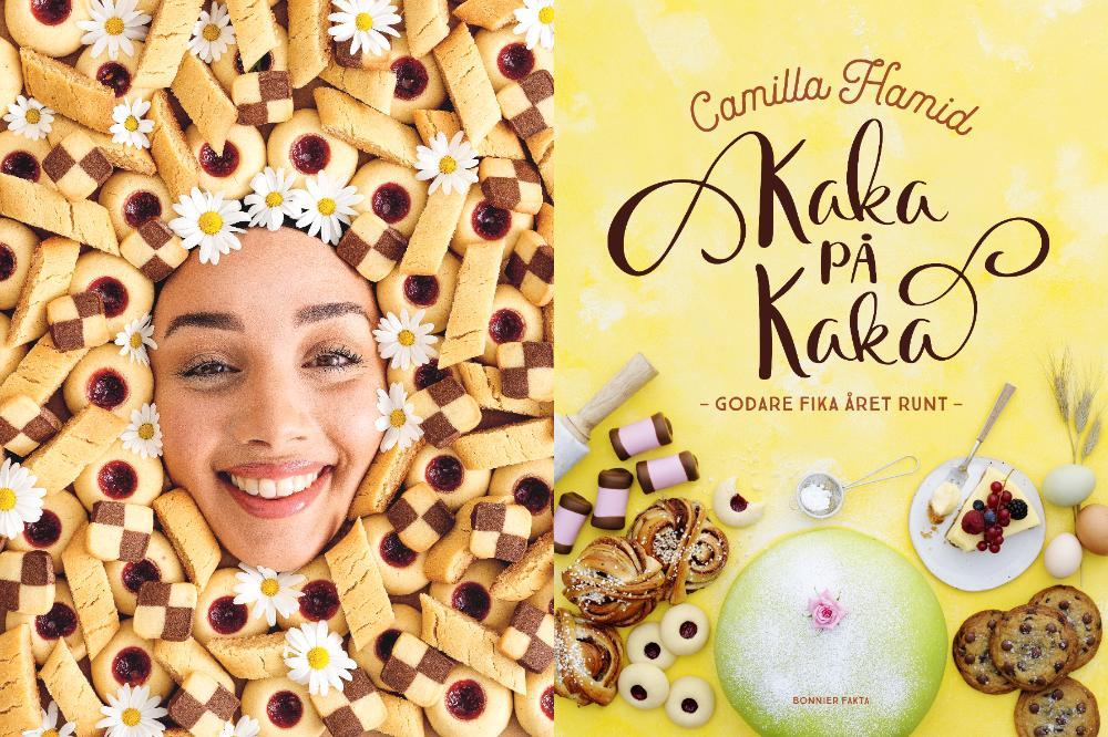 """Camilla med sin nya bakbok """"Kaka på kaka""""."""