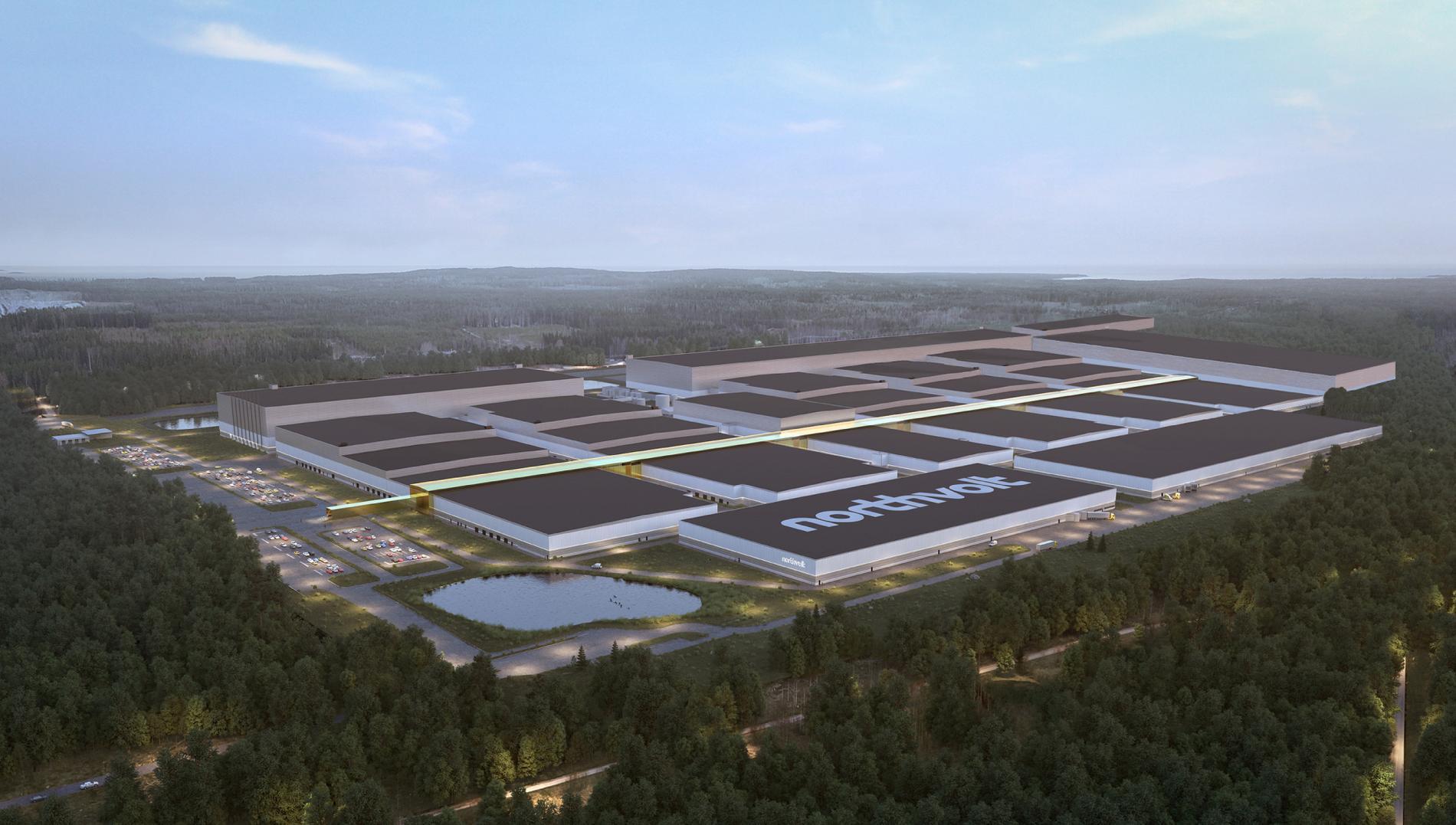 Northvolt Ett i Skellefteå kommer att breda ut sig över 500000 kvadratmeter. Så här kommer bolagets första fabrik att se ut.