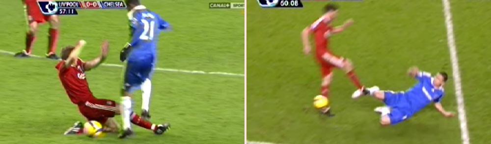 Steven Gerrard (tv) blev inte utvisad, det blev däremot Frank Lampard.