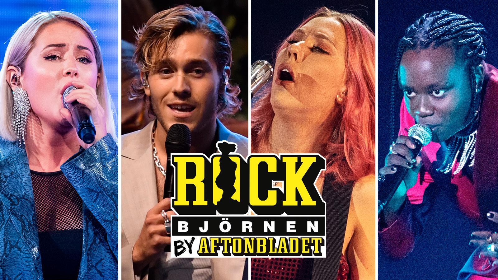Molly Sandén, Benjamin Ingrosso, Clara Klingenström och Tusse Chiza har alla chans att vinna Rockbjörnen.