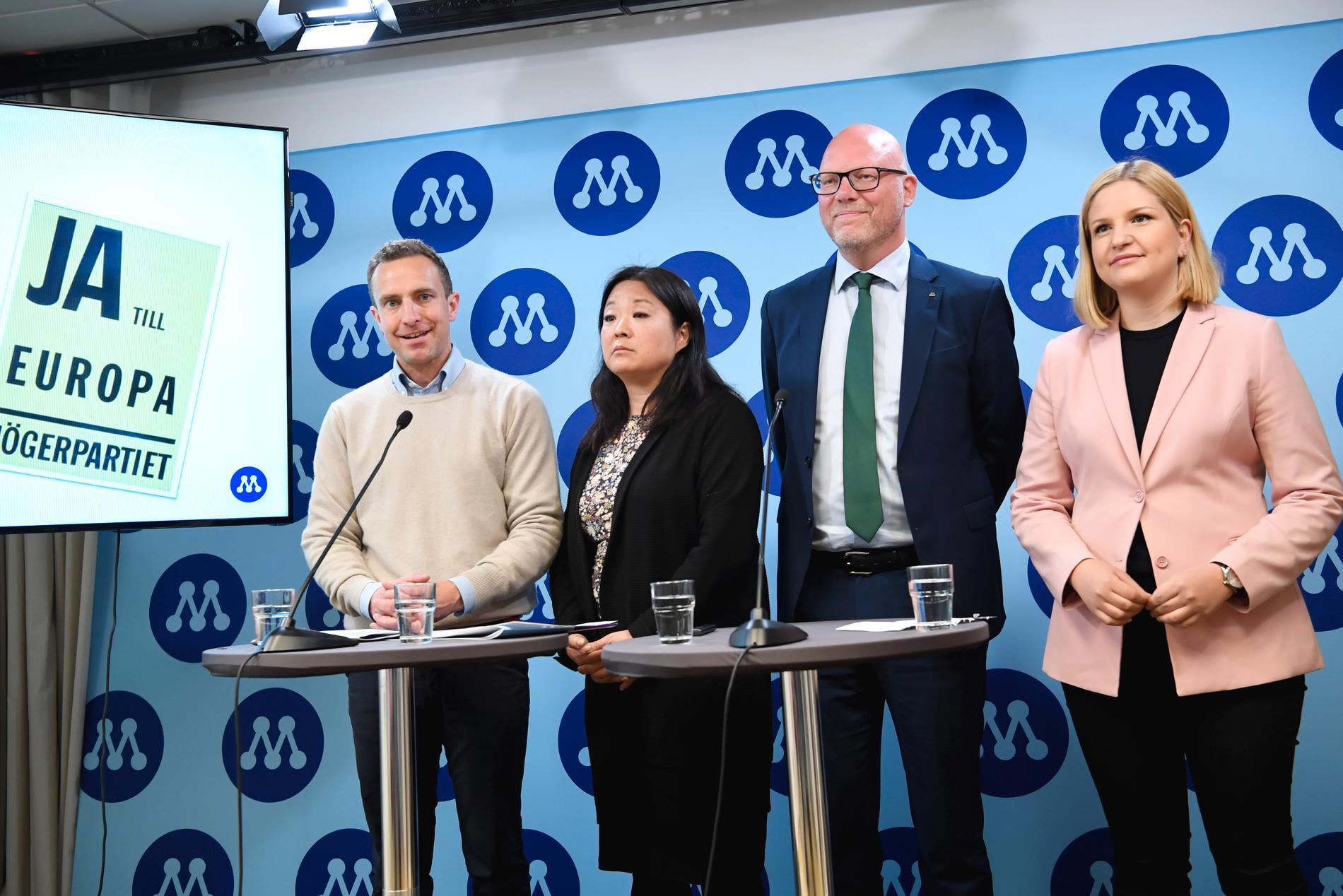 Moderaternas fyra EU-kandidater Tomas Tobé, Jessica Polfjärd, Jörgen Warborn och Arba Kokalari presenterar partiets valmanifest inför EU-valet.