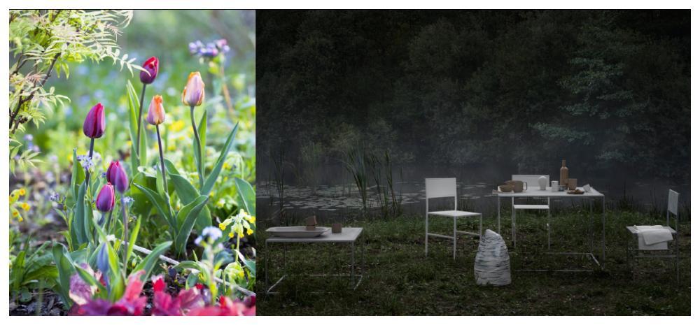 Purpur och grönt i trädgårdsmästaren och Gardena-ambassadören Victoria Skoglunds rabatt. Domo designs enkla och minimalistiska former kontrasterar fint till en mystiskt vildvuxen trädgård i mörka toner.