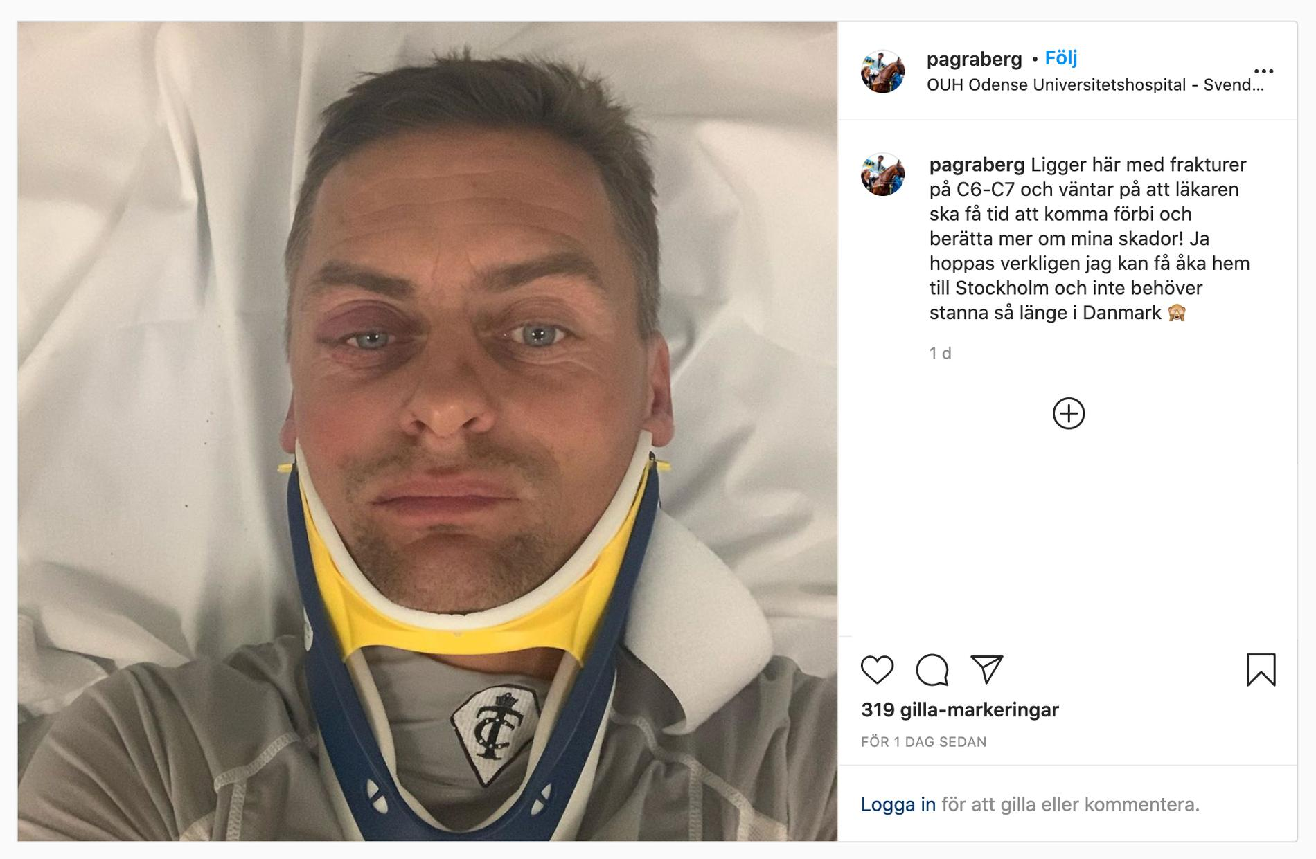 Per-Anders Gråbergs inlägg på Instagram från sjukhussängen i Odense.