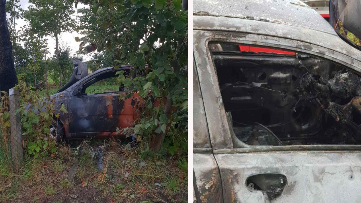 Trots höga lågor ville föraren inte lämna bilen. I sista stund fick Johan ut honom. Bilen blev helt utbränd.