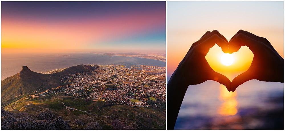 Njut av utsikten från Taffelberget i Kapstaden.