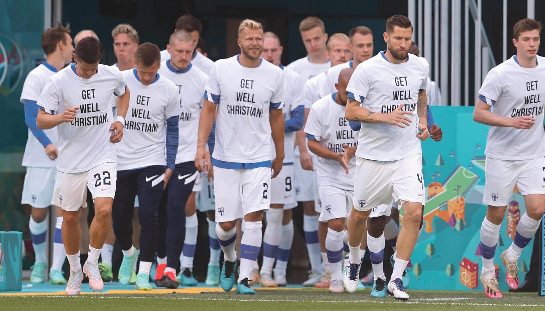 De finska spelarna hyllade Eriksen inför matchen mot Ryssland
