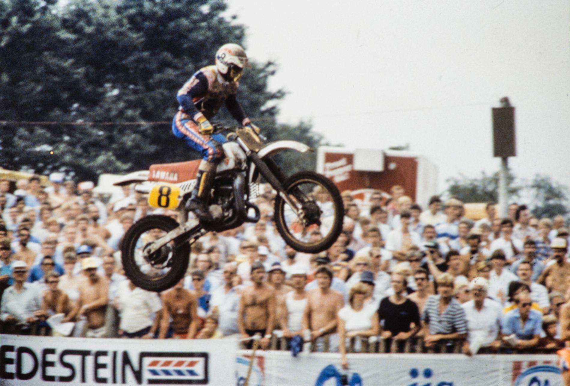 """""""Carla"""" under en tävling 1983. Samma år tilldelades han Svenska Dagbladets Bragdmedalj."""