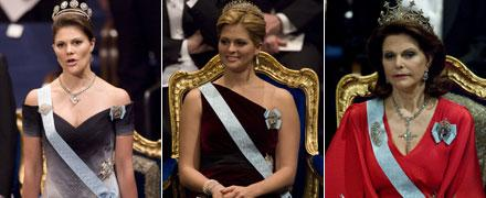 Kungafamiljen får höga betyg Victoria, Madeleine och Silvia under Nobels prisutdelning på måndagseftermiddagen.