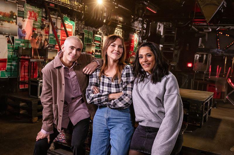 """Programledarna i """"Musikhjälpen"""" 2020 – Felix Sandman, Brita Zackari och Farah Abadi."""