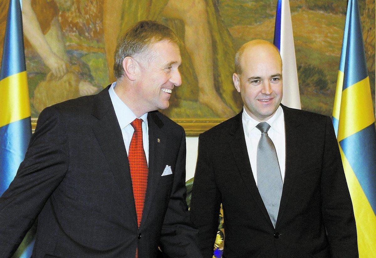 Tjeckiens dåvarande statsminister Topolánek fick besök av Fredrik Reinfeldt i november i fjol.
