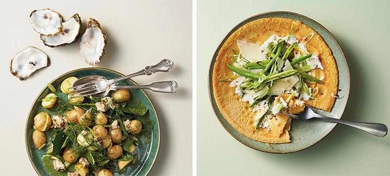 """Potatissallad med spenat och ostronvinägrett eller socca med bönsallad och pecorino? Recept från Tina Nordströms nya kokbok: """"Gott käk utan krångel"""""""