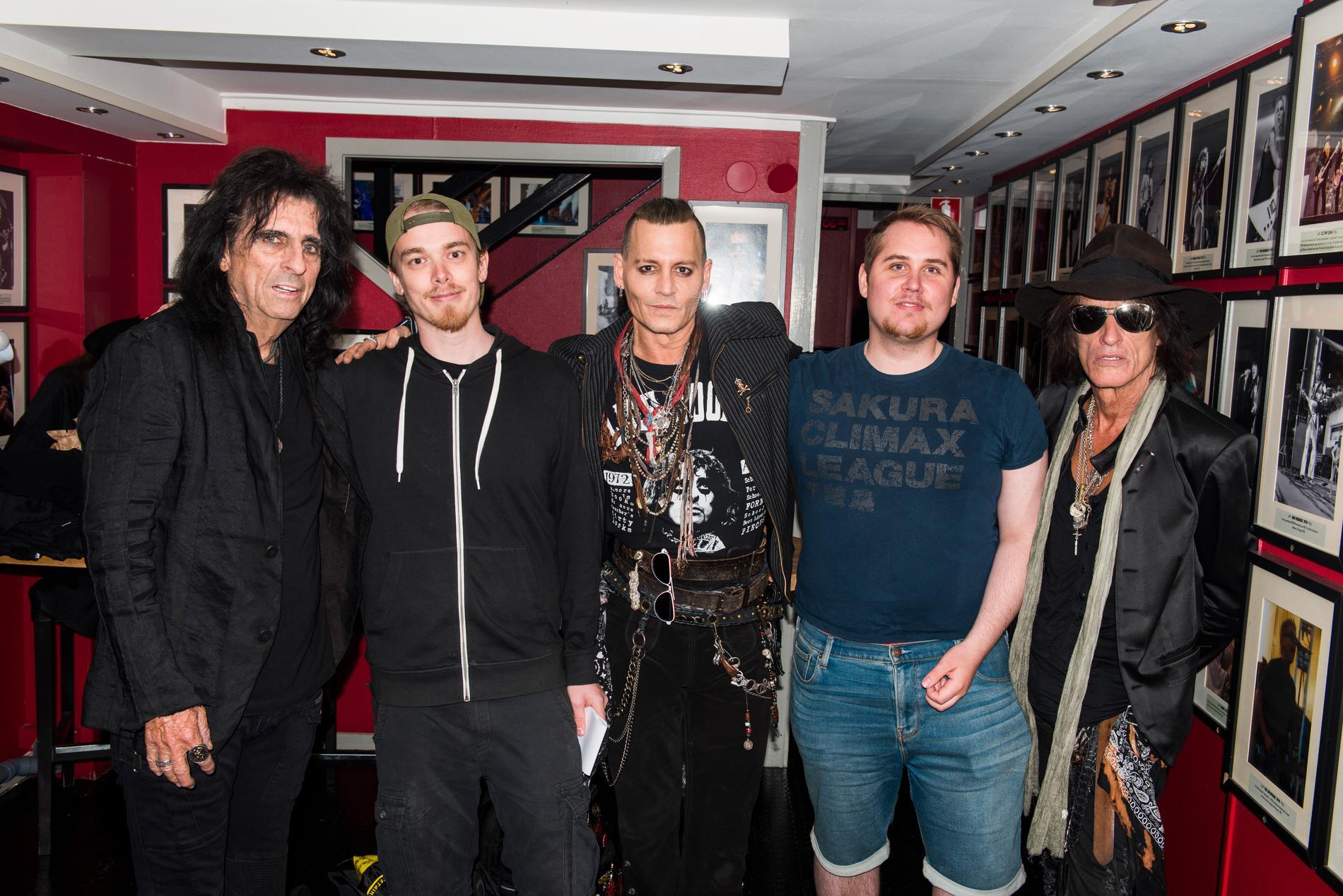 Alice Cooper, Christoffer Nykvist, Johnny Depp, Elias Sundbom och Joe Perry.