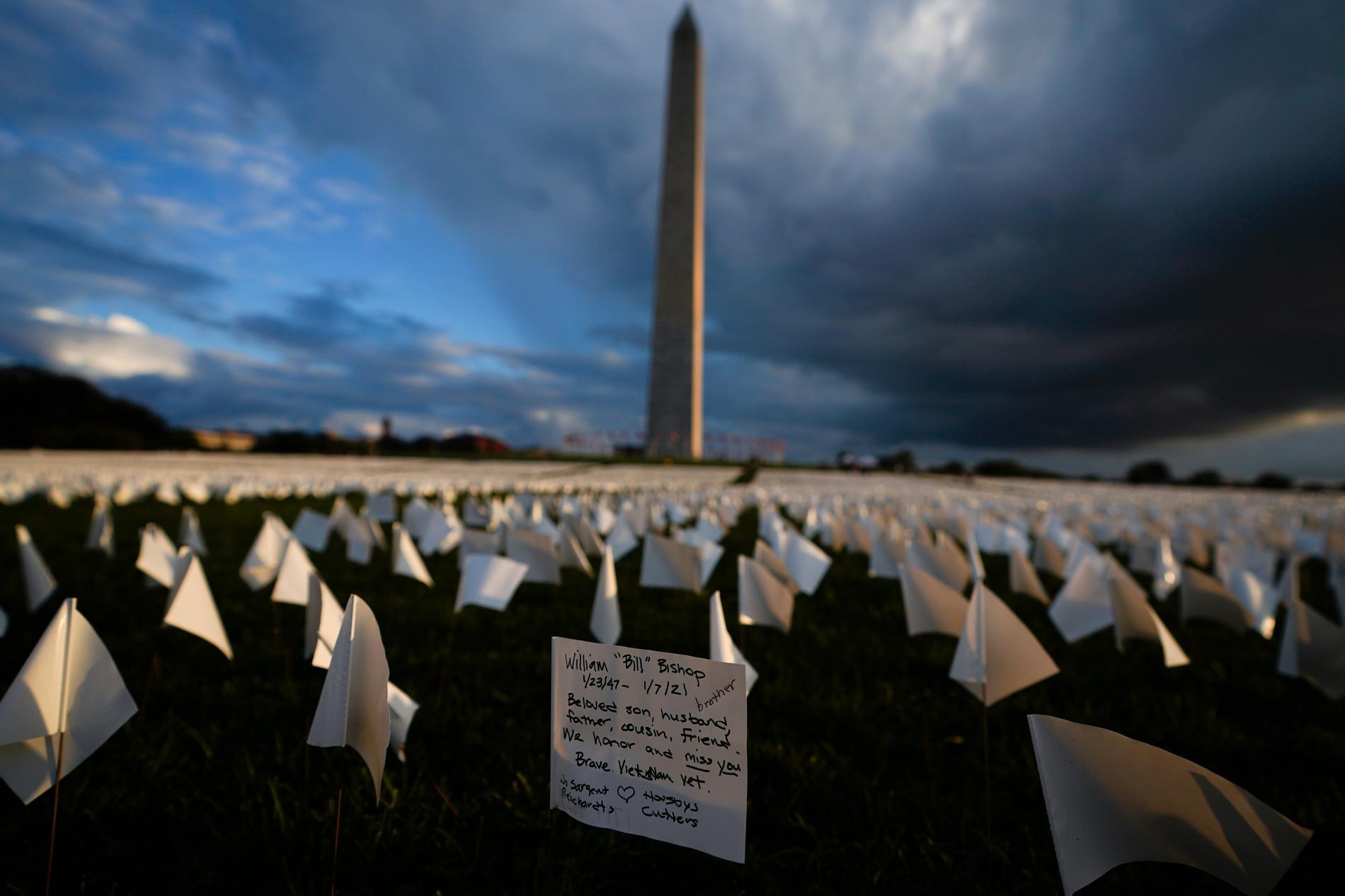 """Över 630000 vita flaggor har placerats ut vid Washingtonmonumentet i Washington DC för att hedra offren för covid-19 i USA. Bakom installationen står konstnären Suzanne Brennan Firstenberg, som döpt den """"In America: Remember""""."""