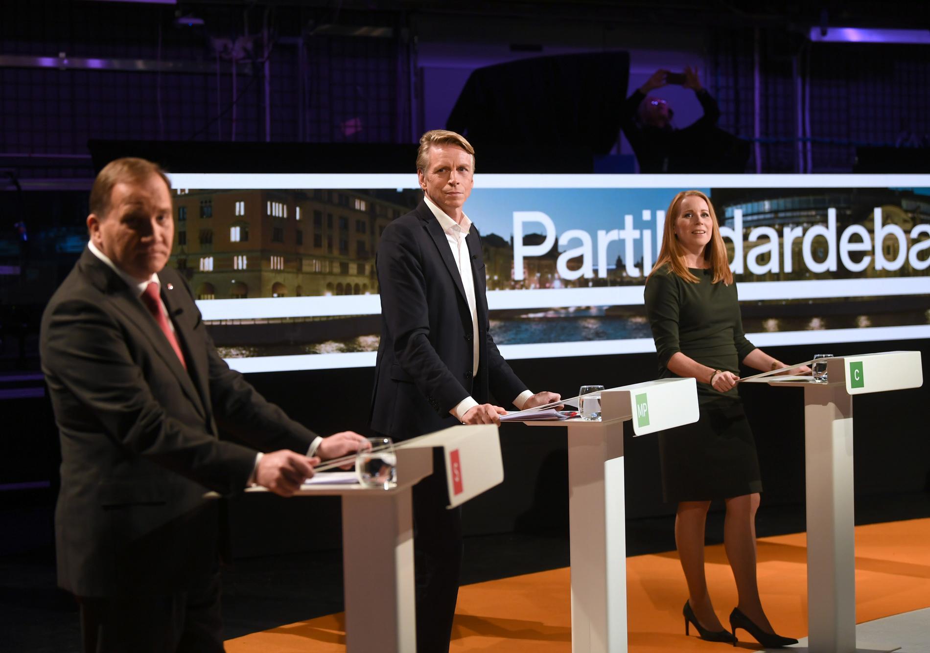 Löfven, Bolund och Lööf under gårdagens partiledardebatt i Agenda.