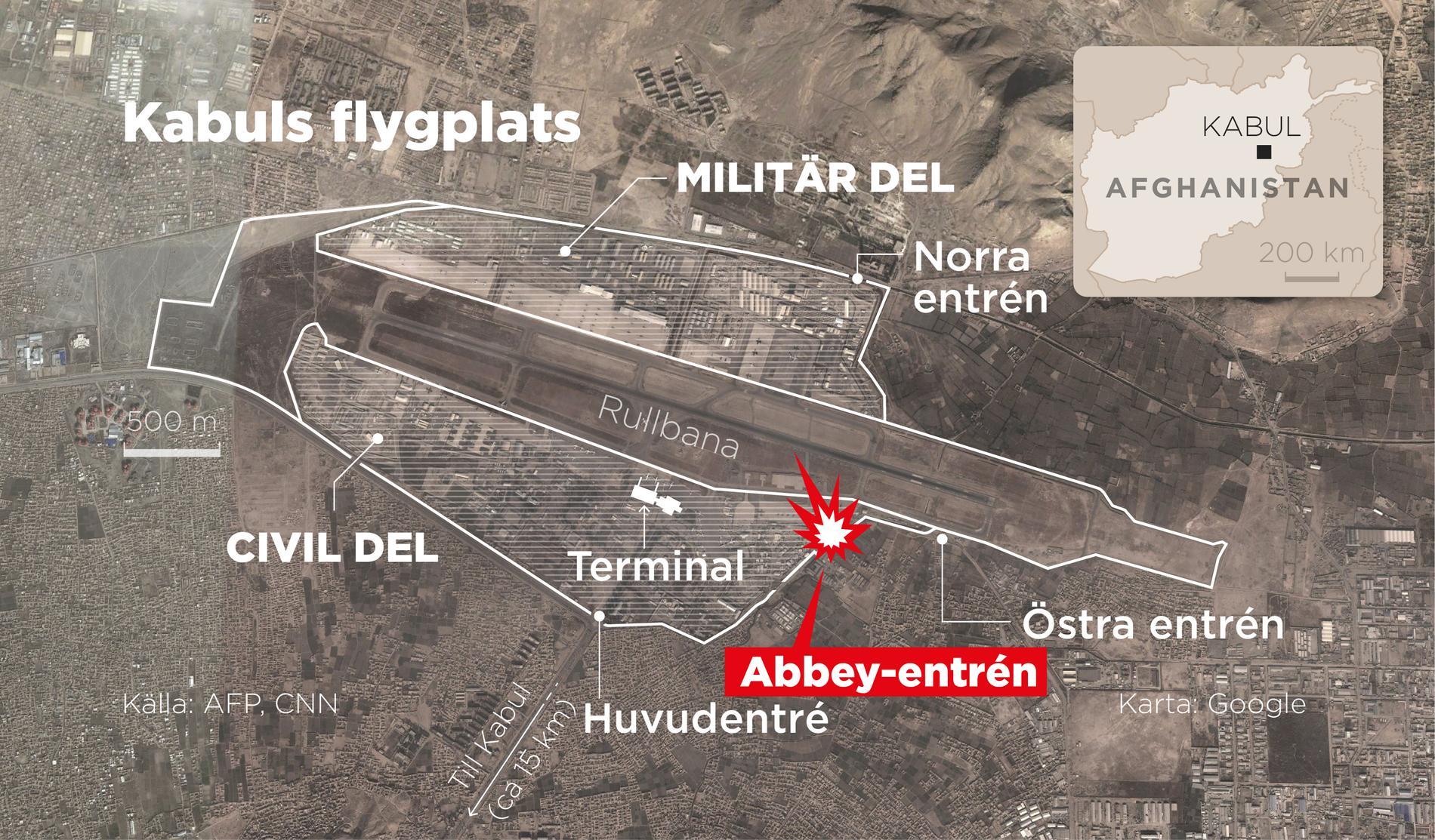 Explosionerna inträffade utanför Abbeyentrén vid Kabuls flygplats.