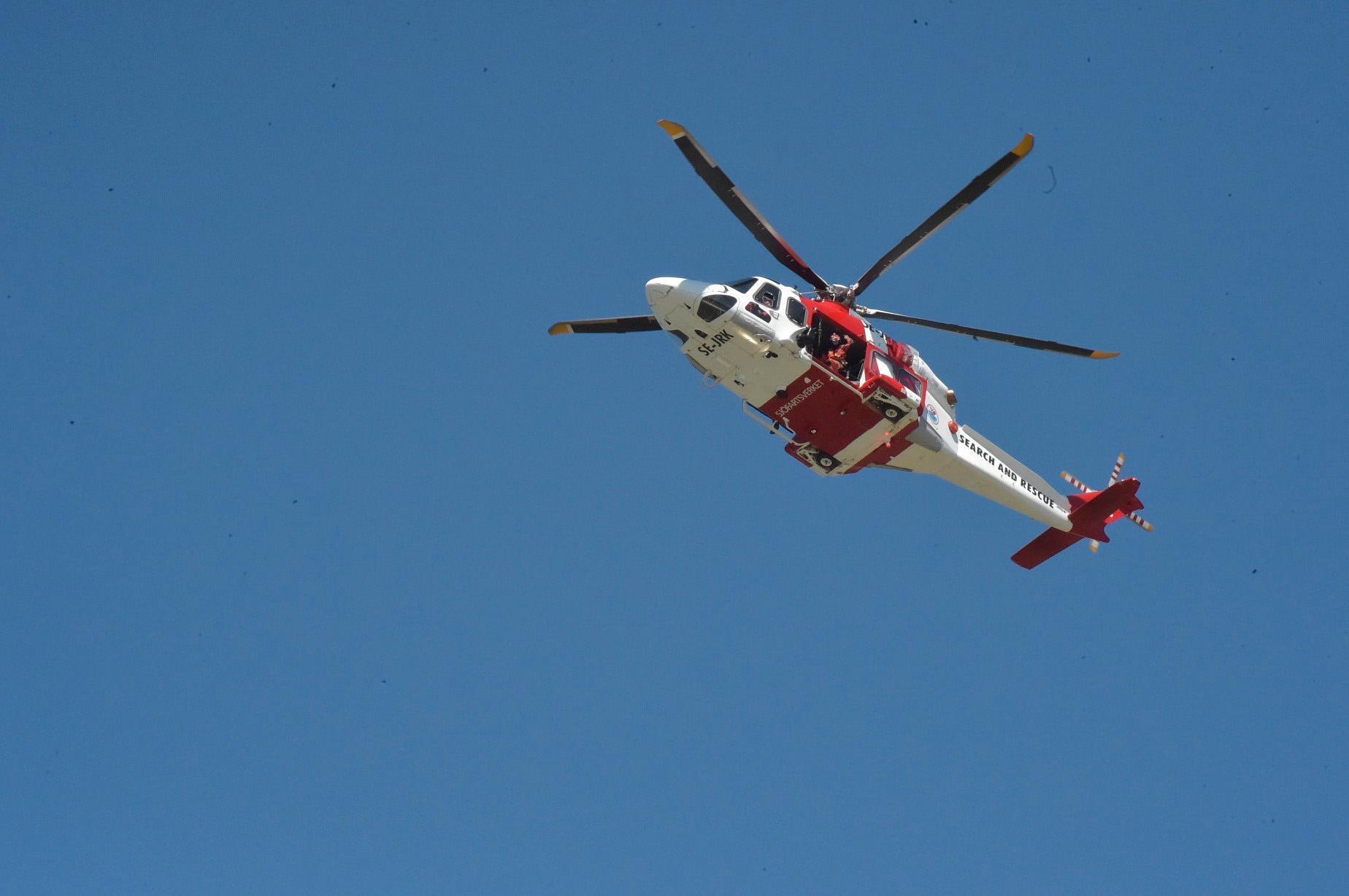 Helikopter vid en räddningsinsats i Helsingborg.