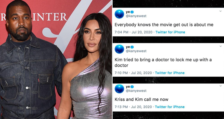 Kanye West och Kim Kardashian West och några av de nu raderade inläggen.