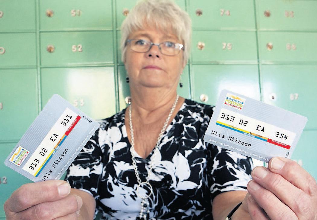 """""""hoppas de ger sig"""" Ulla Nilssons lottnummer drogs i Postkodlotteriet.Men nu får hon ingen vinst då hon enligt Postkodlotteriet har ett annatnummer kopplat till sin adress. """"Jag hoppas att de ger med sig"""", säger hon."""