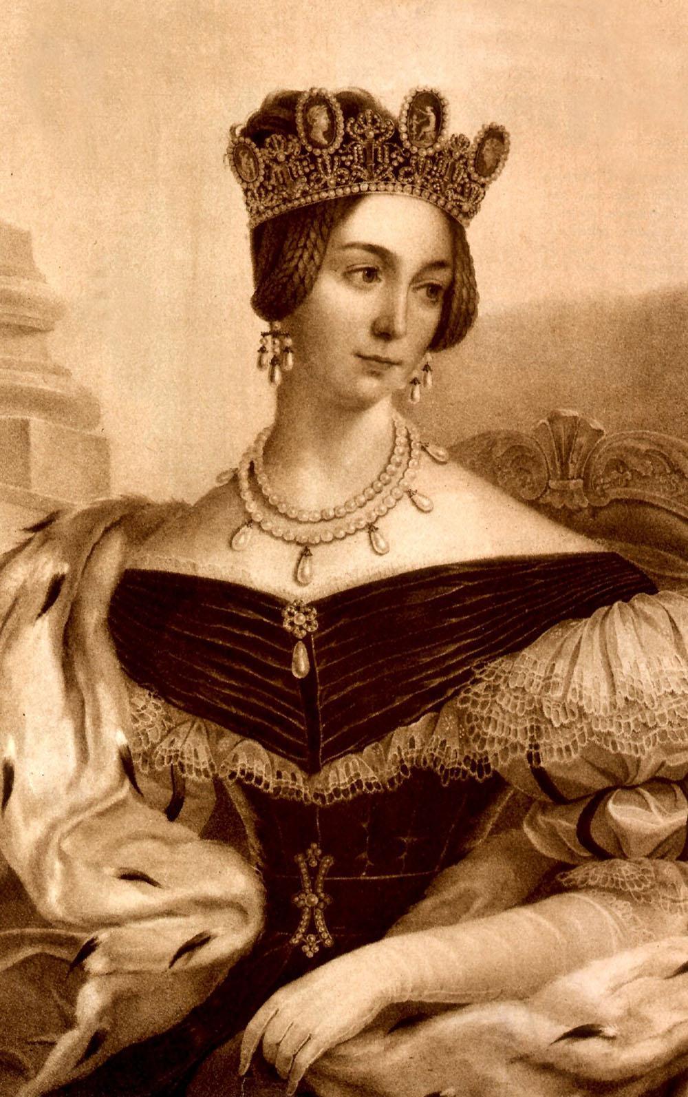 Drottning Josefina i galaklänning och det omtalade pärlhalsbandet som nu säljs på Sotheby's. I håret bär hon det vackra kamédiademet som Josefina bar på sitt bröllop med blivande Oscar I.