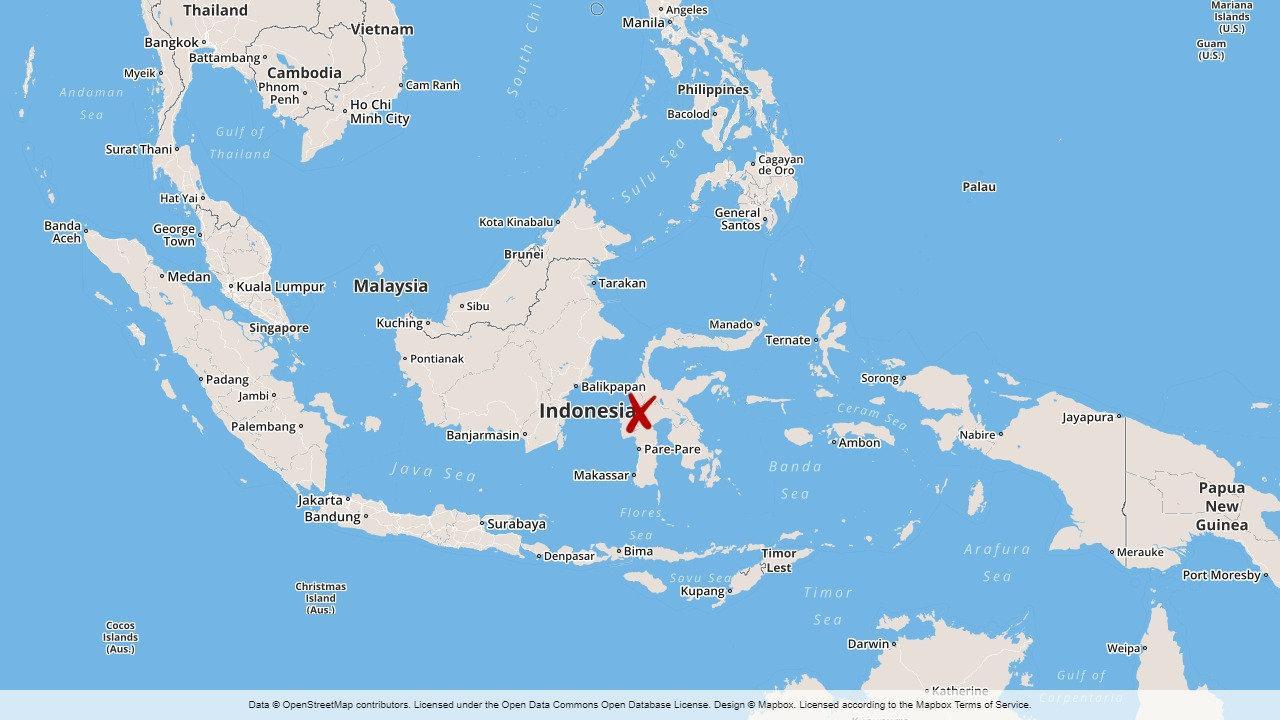 Skalvet inträffade strax utanför den indonesiska ön Sulawesi.