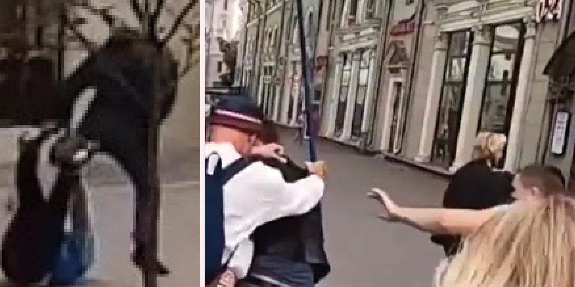 Sergej Kozeka och Pavel Rassolko attackeras av polis.