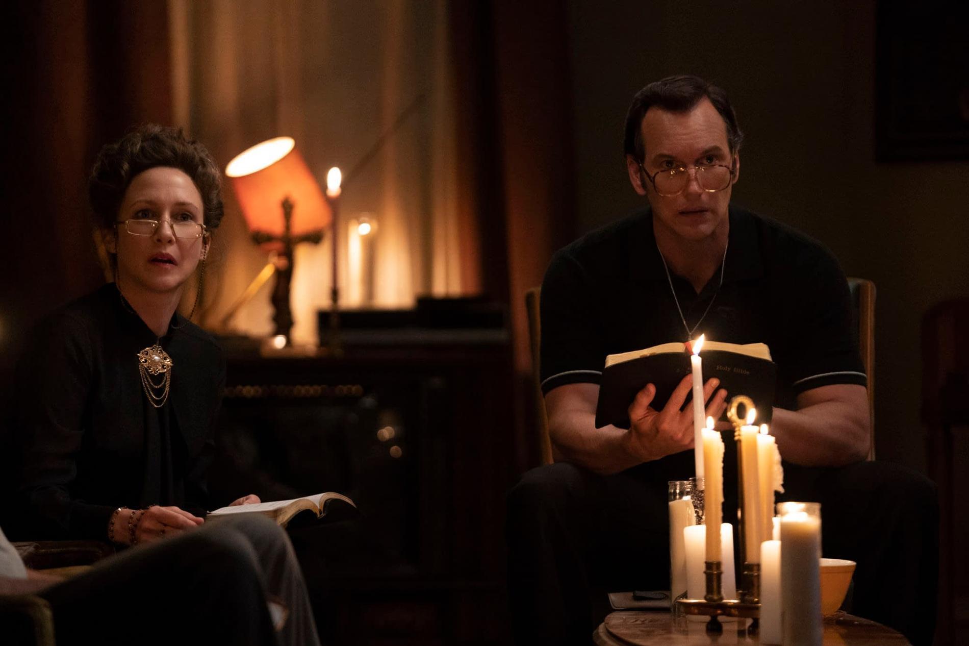 """Vera Farmiga och Patrick Wilson i """"The conjuring: The devil made me do it""""."""
