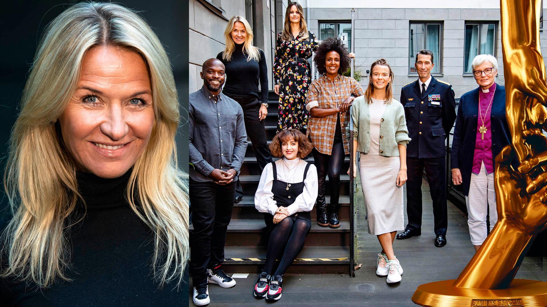 Svenska Hjältar-juryn leds av ordförande Kristin Kaspersen. Kodjo Akolor, prinsessan Sofia, Shima Niavarani, Marika Carlsson, Margaux Dietz, ÖB Micael Bydén, ärkebiskop Antje Jackelén samt (ej med i bild) Morgan Alling och Janne Andersson är med i årets jury.