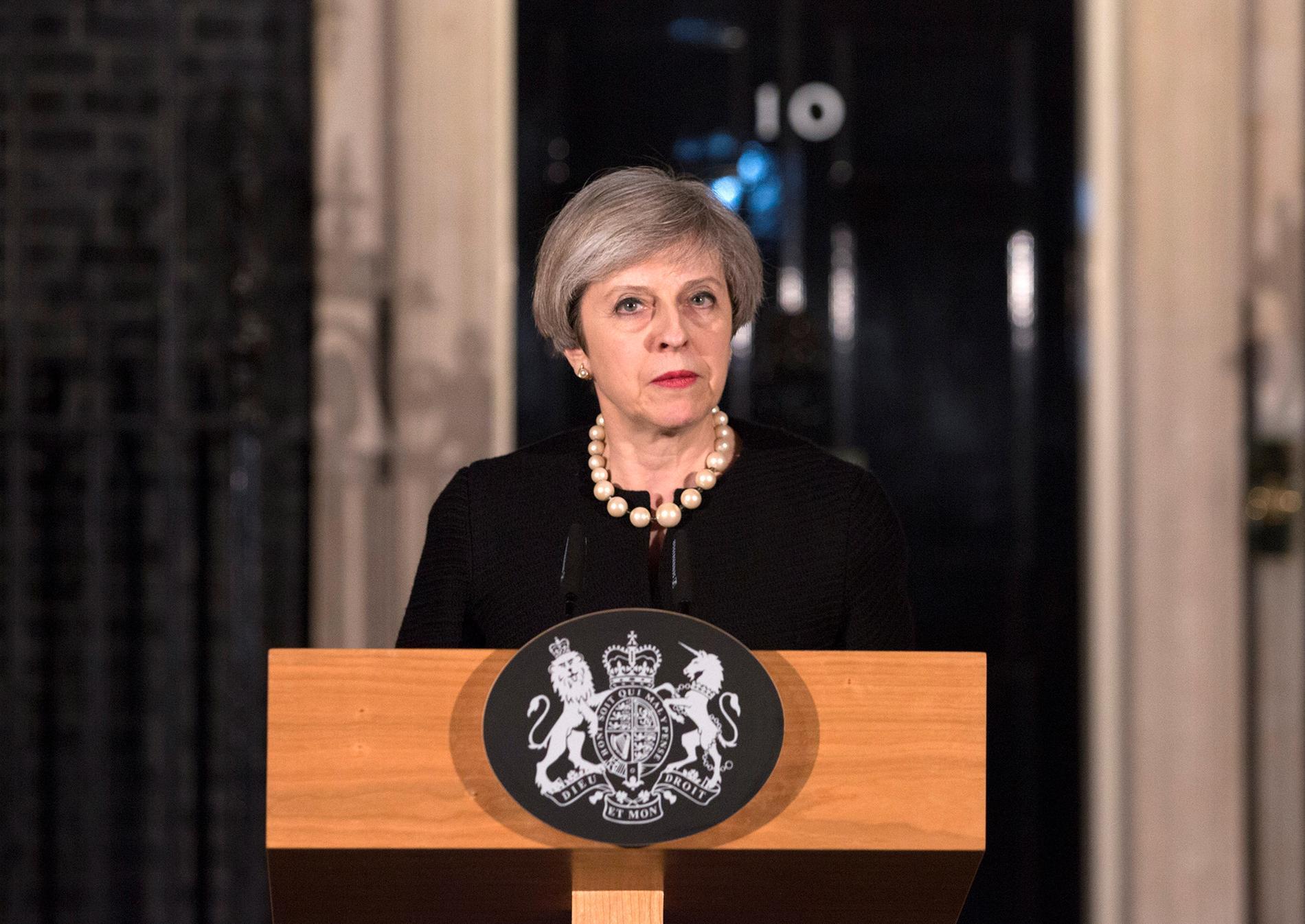 Theresa May höll en presskonferens om terrordådet den 22 mars, efter att ha hållit ett möte med Cobra.