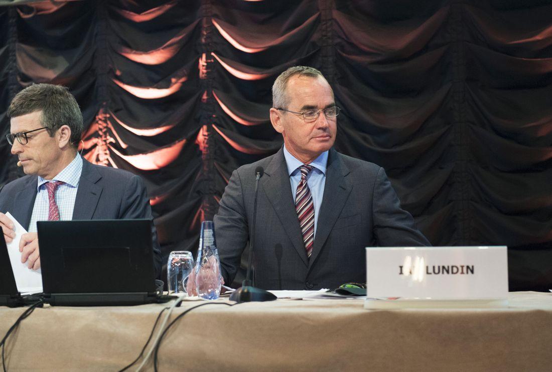 Alex Schneiter och Ian Lundin vid Lundin petroleums bolagsstämma i maj 2017. Arkivbild.