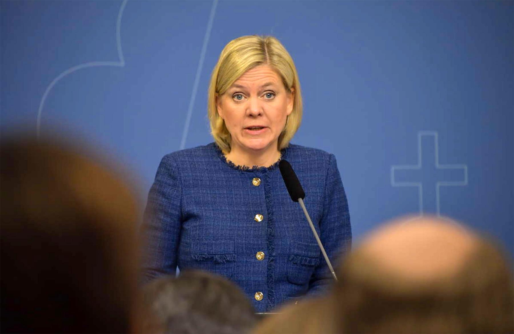 Finansminister Magdalena Andersson presenterar vårbudgeten.