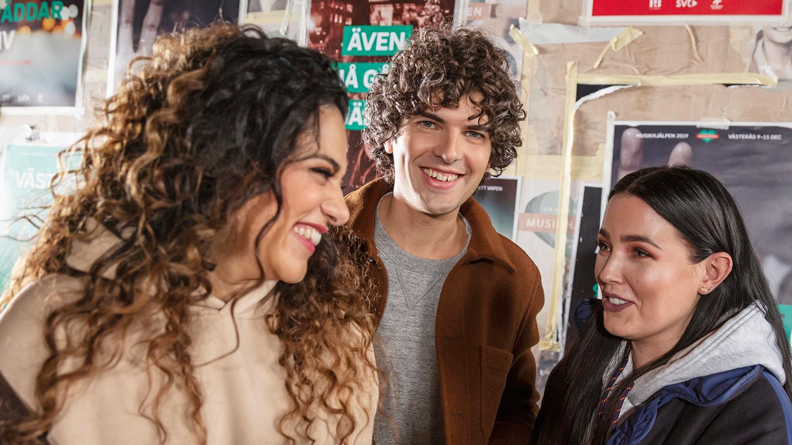 """Farah Abadi, Daniel Norberg och Miriam Bryant var programledare för """"Musikhjälpen"""" 2019."""