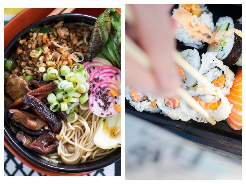 Ramen och sushi.