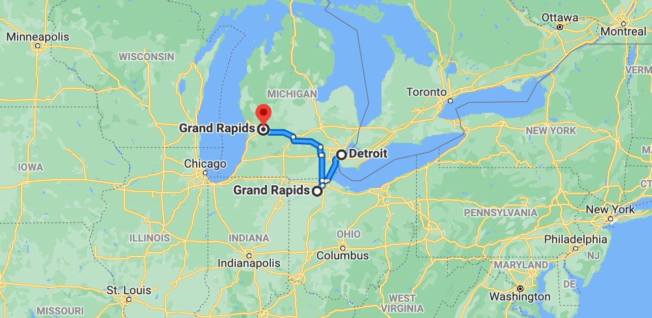 Det finns två Grand Rapids i närheten av Detroit. Något Jonatan Berggren fick erfara.