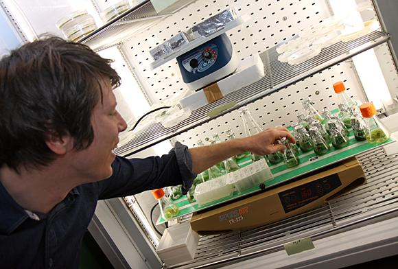 Paul Hudson visar upp bakterierna han använder för att göra bränsle.