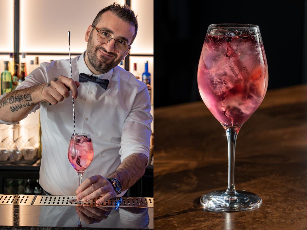 Hibiskus gin och tonic, snabb och enkel att göra.