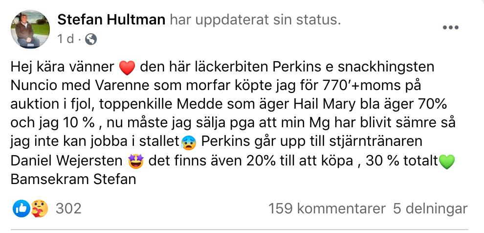 Stefan Hultman gör nu sig av med sina hästar på grund av sin sjukdom.
