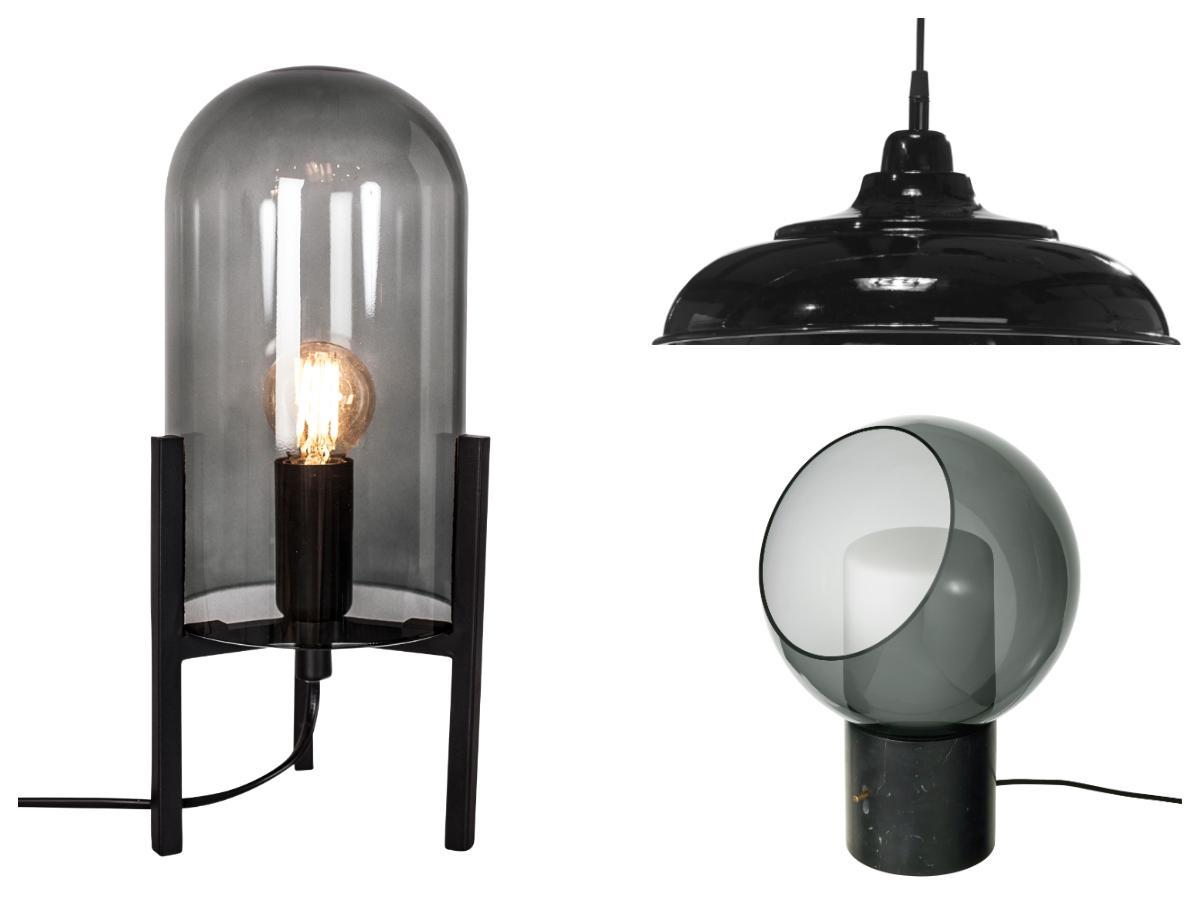 Lampor med strålande svärta - fr v: Bordslampa Smokie, 599 kr, By Rydéns. Taklampa Avignon, 599 kr, PR home. Bordslampa Evedal, 1495 kr, Ikea.