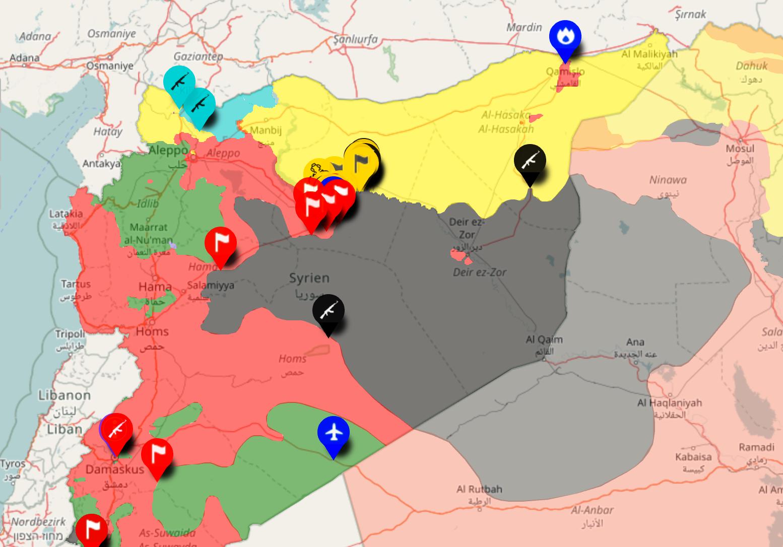 Kartan visar situationen på slagfältet kring Deir Ezzor. De grå områdena är IS, de gula kurder och de röda syriska regimen och dess allierade.