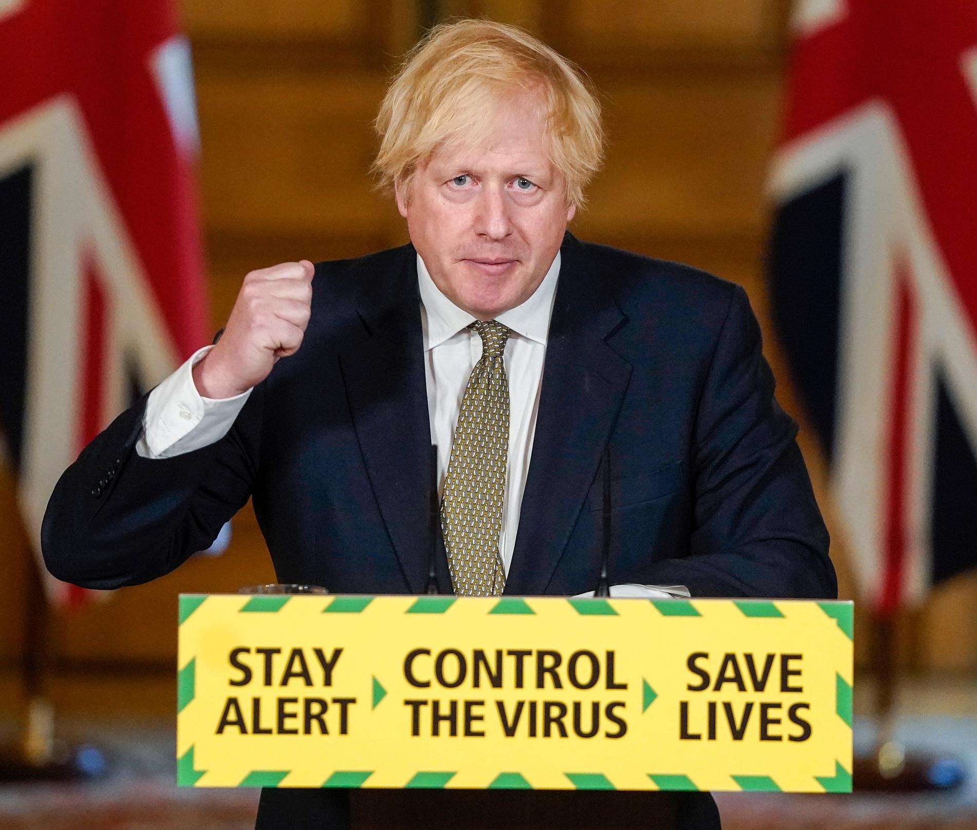 Storbritanniens premiärminister Boris Johnson på söndagen.