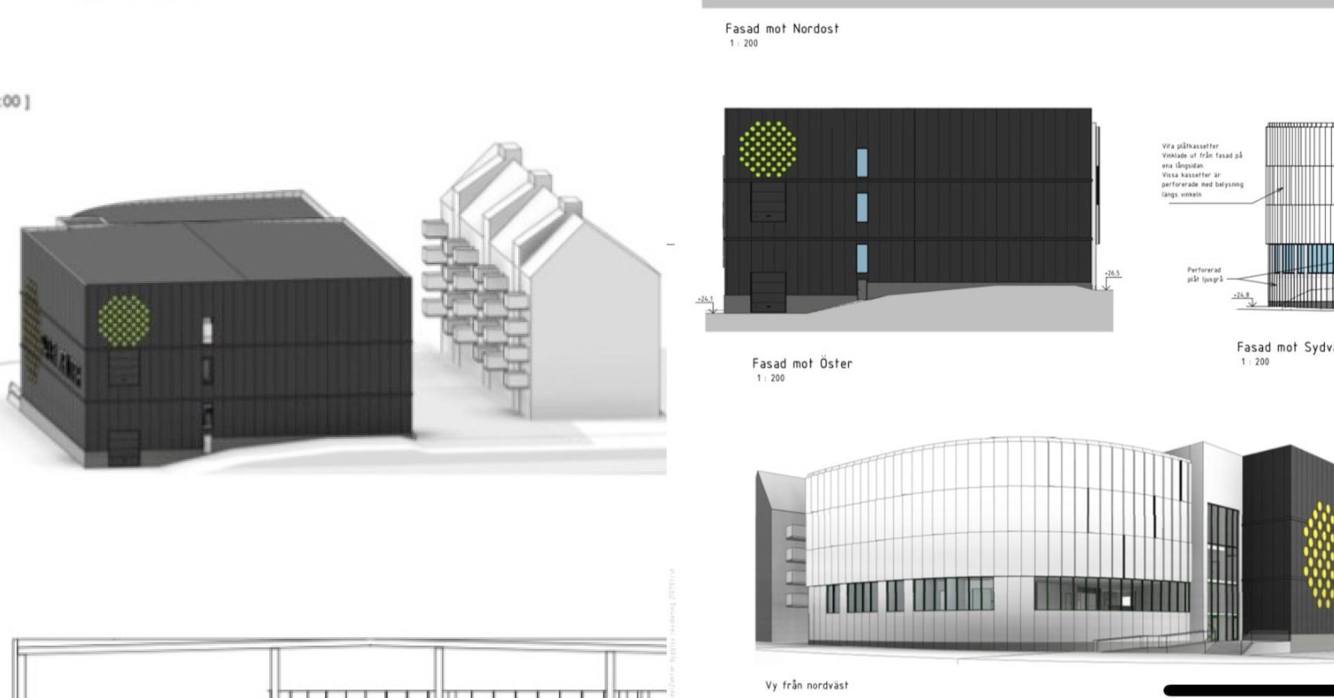 Ritningarna på den nya hallen intill bostadshusen i Sollentuna.