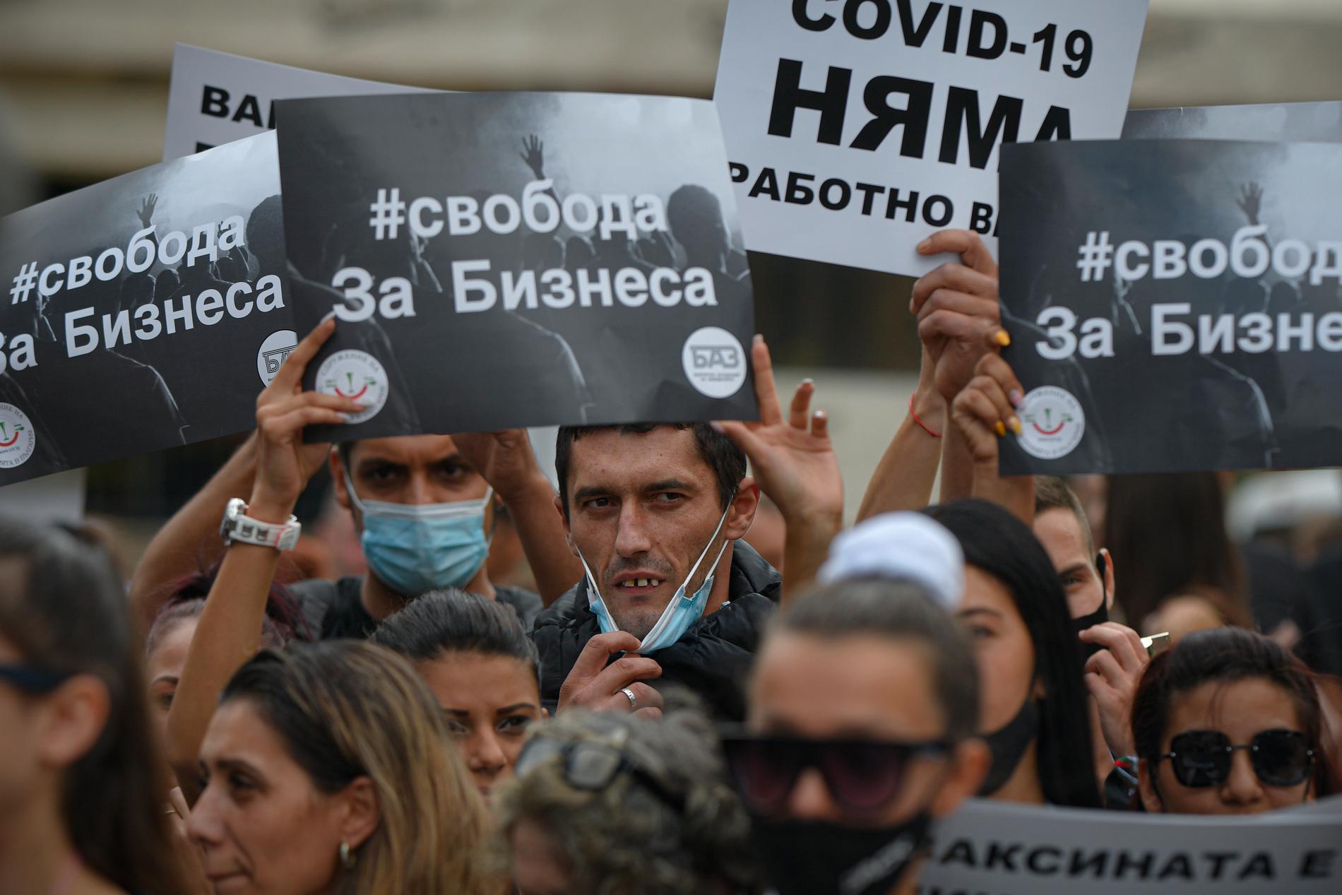 """""""Frihet för jobben"""" och """"det finns ingen covid-19"""", står det på demonstranternas plakat."""