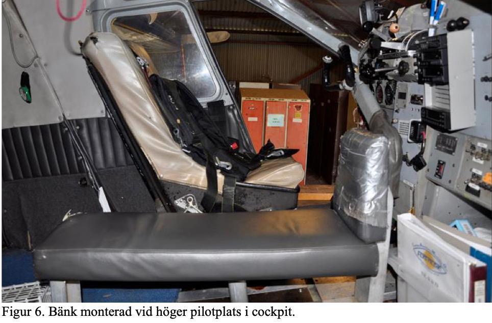 Bild inifrån det nu kraschade flygplanet, taget av Statens haverikommission under utredningen för ett år sedan.