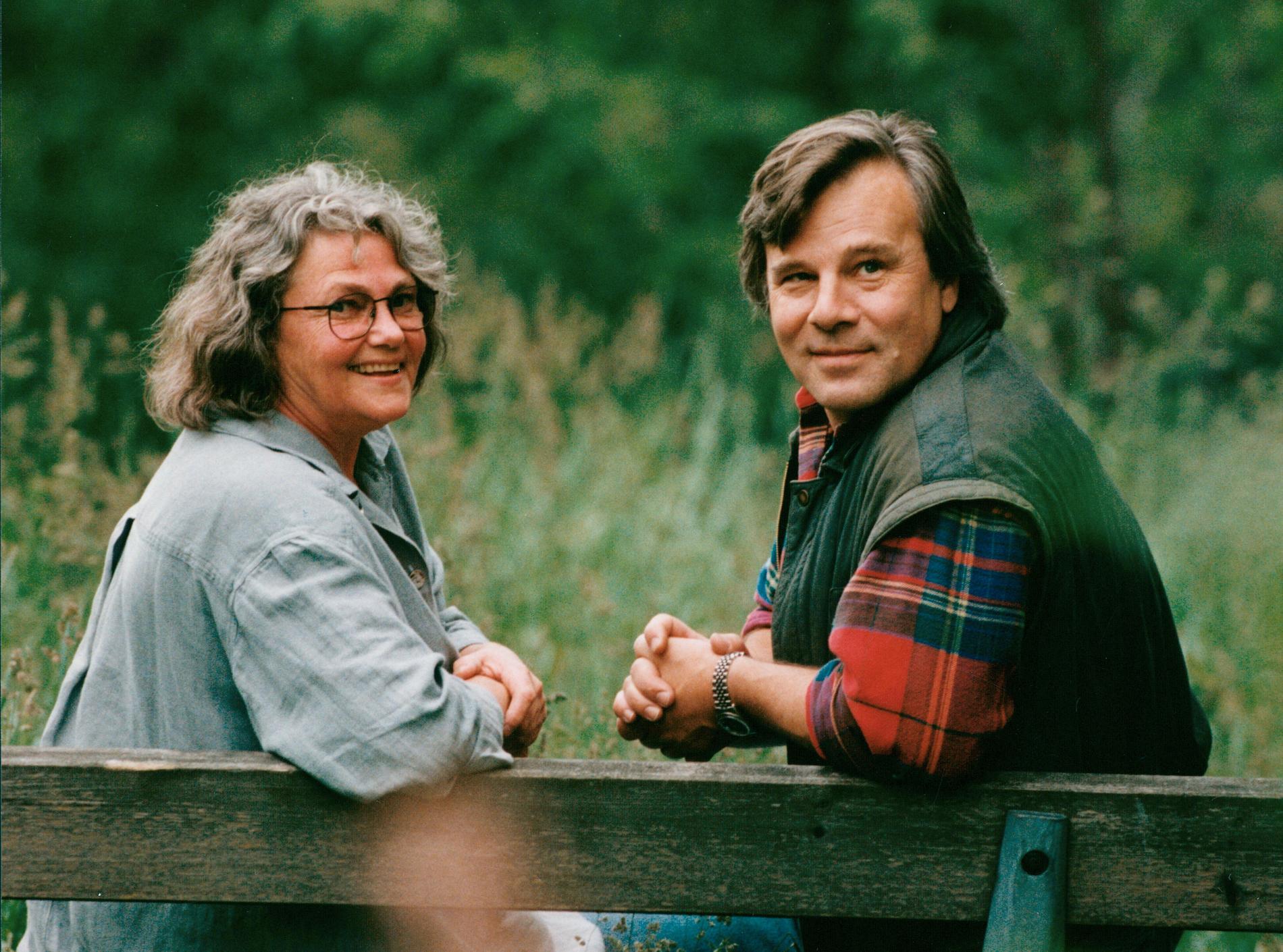 Maj Sjöwall tillsammans med Jan Guillou, 1993.