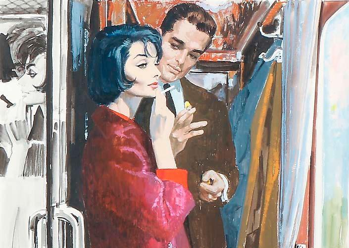 Gerd Miller, The magnificent Morgans, för Vecko-Revyn nr 2/1961, gouache på papp.