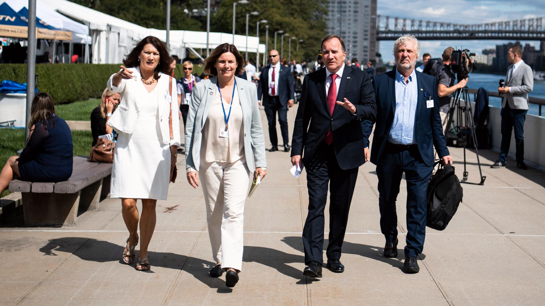 Statsminister Stefan Löfven med ministerkolleger vid FN-högkvarteret i New York 2019. Arkivbild.