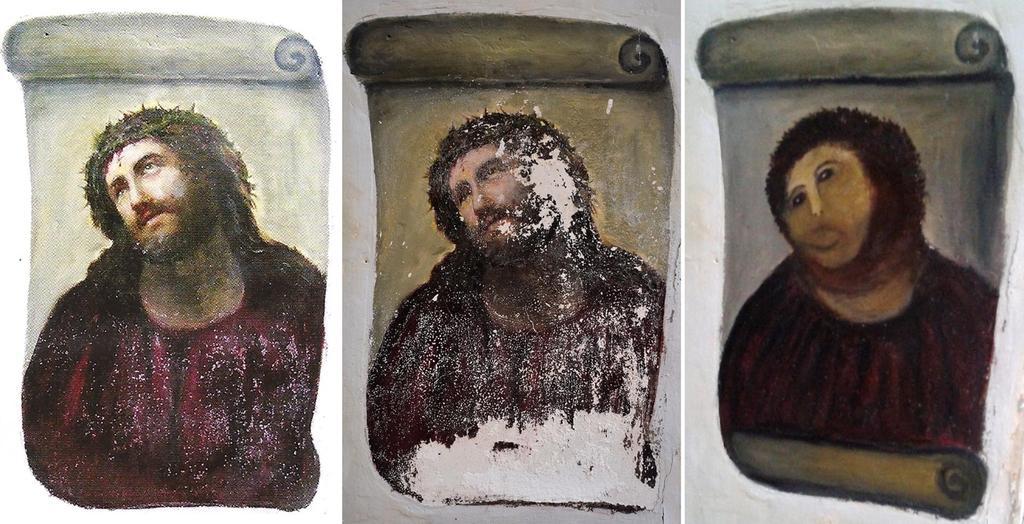 """Kyrkmålningen """"Ecco Homo"""" som blev förstörd för åtta år sedan."""