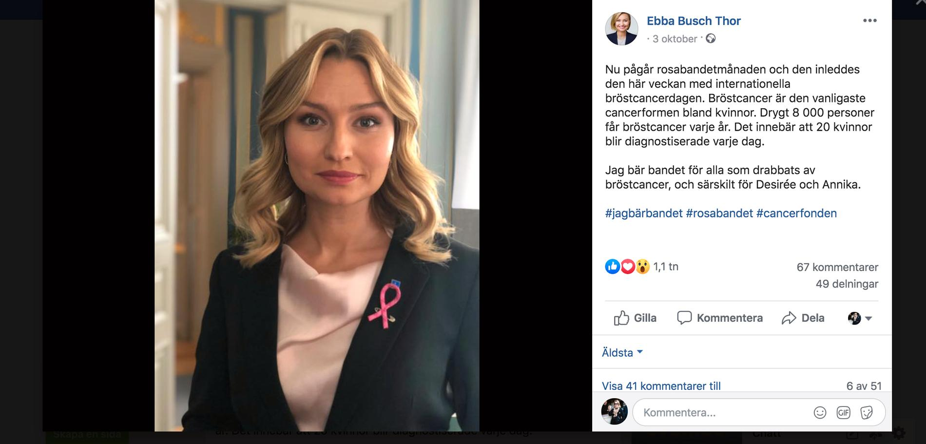 Ebba Busch Thor uppmärksammar Rosa Bandets kampanj mot bröstcancer.